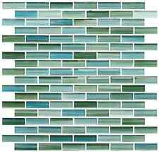 Rip Curl Green and Blue Hand Painted Glass Mosaic Subway Tiles - Bathroom Tile