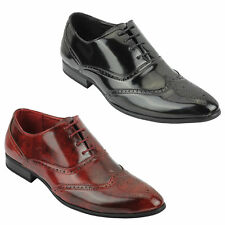 New Mens Patent Leather Brogues Black Maroon Smart Lace up Shoes 6 7 8 9 10 11
