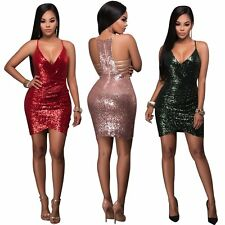 Women Bandage Bodycon Sleeveless Sequins Evening Sexy Party Cocktail Mini Dress