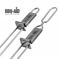 BBQ-Aid Premium Barbecue Skewers - Double Pronged, Quick Release Stainless Steel