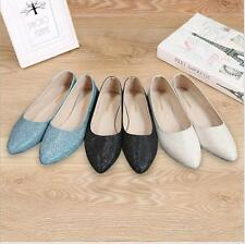 Fashion WOMENS FLAT PUMPS LADIES GLITTER BALLET BALLERINA DOLLY BRIDAL SHOES