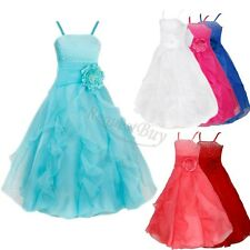 Kids Girl's Organza Tutu Princess Bridesmaid Wedding Birthday Party Long Dress