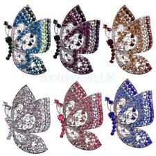 Antique Butterfly Brooch Large Vintage Alloy Rhinestone Diamante Brooch Pin