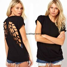 New Womens Sexy Long Cut Hollow Angel Wings Back T-shirt Blouse Short Sleeve WN