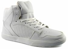 Mens New Hi Top Lace Up White Skate Ankle Boots Trainers Shoes Size 6-11