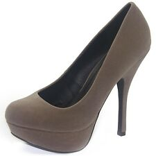 Women's Casual Classic Color Velvet Rounded Toe High Heel With Platform