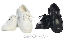 New Kids Toddler Youth Boys Black White Dress Shoes Lace Up Matte Finish Oxford