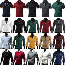 Mens Deer POLO Shirts Casual Slim Fit Dress Shirt Sweatshirt Top Work Golf Tops