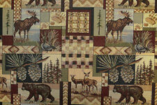 PETER'S CABIN STONE MOOSE RUSTIC TAPESTRY FABRIC BY THE YARD BULK DISCOUNTS