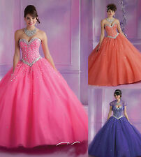 New Pageant Beaded Long Formal Prom Ball Gown Quinceanera Wedding Evening Dress