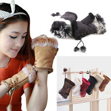 Noble New Fashion Women's  Rabbit Fur Hand Wrist Warmer Fingerless Winter Gloves