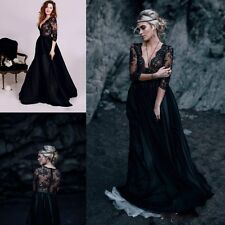 Black Lace Evening Dresses Bridesmaids' Formal Ball Gowns Half Sleeve V Neck New