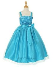 New Turquoise Flower Girls Dress Easter Christmas Party Pageant Fancy 6006KK