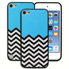 NEW Blue Black White Chevron Hard Case for Apple iPod Touch 5 5th 6 6th Gen Cove