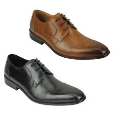 New Mens Real Leather Vintage Smart Office Lace up Derby Shoes Black Tan UK Size