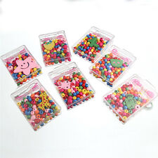 DIY Mixed Colorful Oblate Small Wood Beads Plastic Box Bracelet Making Kids Gift