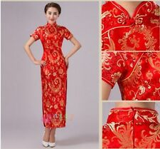 Fashion Red Chinese Ancient Long Cheongsam Qipao women's Dress evening Prom Gown