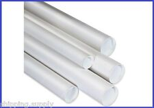 """15 Pack - 4"""" White Mailing Shipping Tubes w/caps - 8 Lengths Available"""
