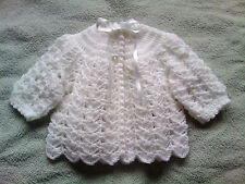 Handmade Crocheted Unisex Baby 4ply Matinee Coat/Jacket/Cardigan various colours