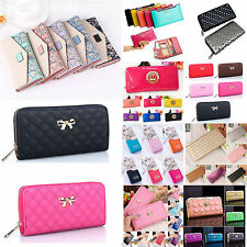 Women Fashion Clutch Leather Long Handbag Bowknot Wallet Coin Long Purses New