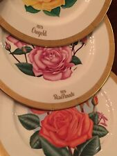 LOT OF 3  Gorham Fine China All American Rose Collector Plates 1975