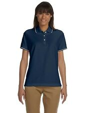 NEW Devon & Jones Sport Shirt Polo Women's Pima Pique Short Sleeve Tipped D113W