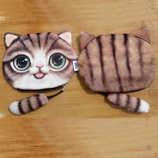 New 3D Cute Cat Face Women Plush Purse Pouches Animal Coin Purse Wallet Handbag
