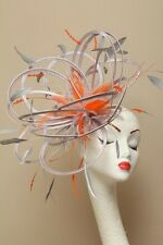 NEW Silver & Orange Fascinator Hat/choose any colour satin & feather colour