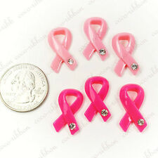 23mm 12~50pcs Pink/Hot Pink Breast Cancer Awareness Ribbon Resin Cabochons