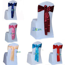 11 Colors Satin Chair Cover Sash Ribbon Bow Decor for Wedding Home Party Banquet