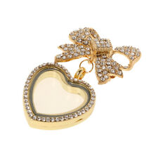Bowknot Floating Memory Photo Heart Glass Locket Brooch Pin Pendant Necklace