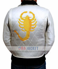 Drive Ryan Gosling Golden Scorpion ivory Satin Jacket - Money Back Guarantee!!!