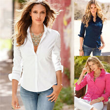 Womens Ladies Slim Fit Long Sleeve Cotton Casual Summer Shirt Top Blouse New w63