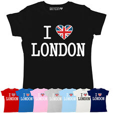 ULTIMATE I LOVE LONDON WOMENS UNION JACK HEART BRITISH PRINTED T-SHIRT