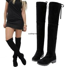 Womens Ladies Flat Low Heel Over The Knee High Stretch Black Suede Boots Size WN