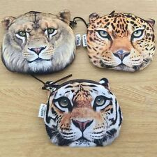 Kids Cute Leopard Wallet Tiger Bag Lion Face Coin Purse Zipper