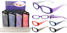 Plastic Color Reading Glasses with Stripe Design and Pouch