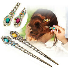 Vintage Rhinestone Flower Pendant Hair Stick Antique Charm Hairpin Ladies new