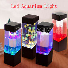 UK Jellyfish Volcano Water Aquarium Fish Tank LED Light Lamp Home Room Decor x 1