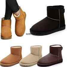 New Womens Rubber Sole Fur Lined Winter Warm Ankle Snow Boots Suede Shoes WN