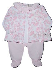 Baby Girls Spanish Style 2 Piece Pink Floral Top & Trouser Set NB 0-3 & 3-6 Mth