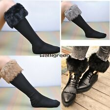 Women Faux fur Snow Socks Leg Warmer Stocking Fur Cover Cuff Boots Shoes WN