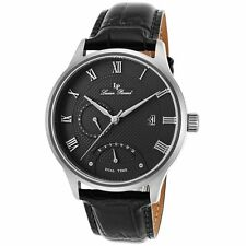 Lucien Piccard Volos 10339-01 Mens Black Dial Watch with Leather Strap