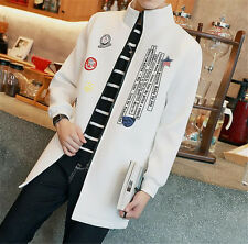 Stylish Men's Coat Casual Outwear Slim Printing Trench coat Long Jacket NEW