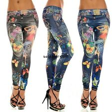 Womens Denim Jeans Look Sexy Skinny Leggings Jeans Jeggings Stretch Pants WN