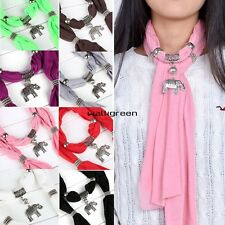 Alloy Elephant Pendant Scarf Necklace Scarves 8 Colors Ring Jewelry WN