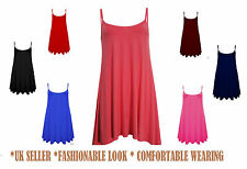 New Womens Sleeveless Long Cami Plain Strappy Swing Vest Camisole Dress Top*cmiL