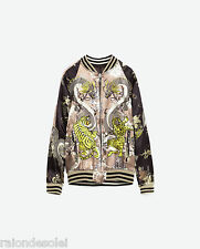 ZARA reversible asian tigers limited edition brown gray bomber jacket 3440/242