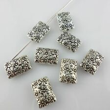 24/200pcs Tibetan Silver 8x11.5mm Charms Rectangle Flower Spacer Beads
