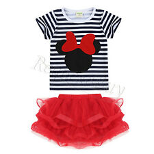 Toddler Kids Baby Girls Minnie Mouse Outfits Clothes T-shirt Tops+Skirt 2PCS Set